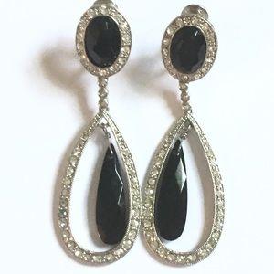 MONET Chandelier dangle earrings silver black